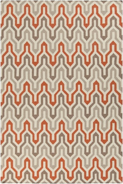Fallon Contemporary Ivory Tangerine Taupe Wool Area Rug (L 96 X W 60) FAL1103-58