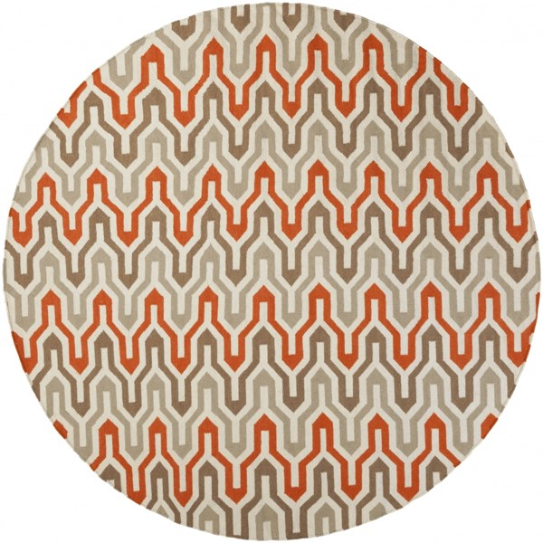 Fallon Contemporary Ivory Tangerine Taupe Wool Area Rug L