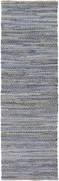 Fanore Sky Blue Charcoal Olive Cotton Jute Runner - 30 x 96 1953-VAR1