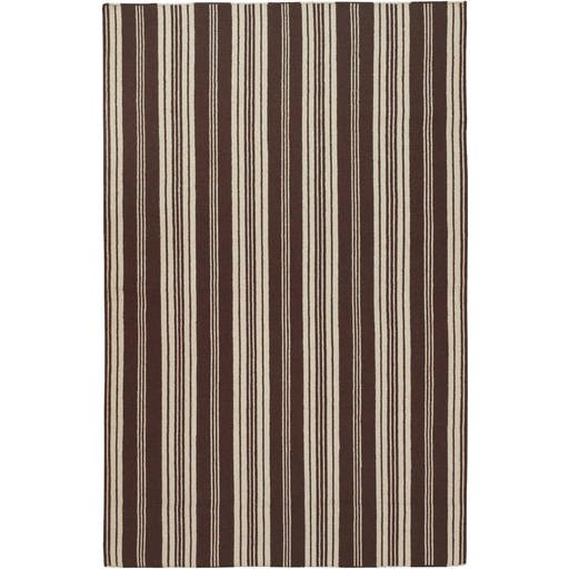 Farmhouse Stripes Flat Pile L 132 X W 96 Rectangle Wool Rug FAR-7004 FAR7004-811