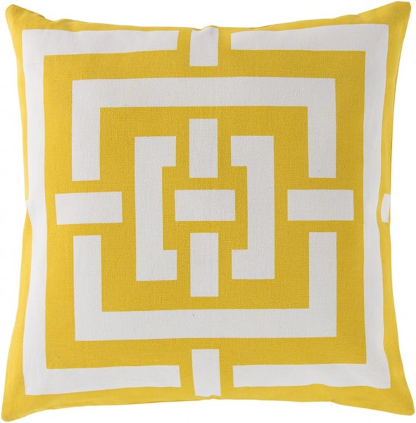 Circles & Squares Gold Ivory Poly Cotton Throw Pillow - 20x20x5 FB001-2020P