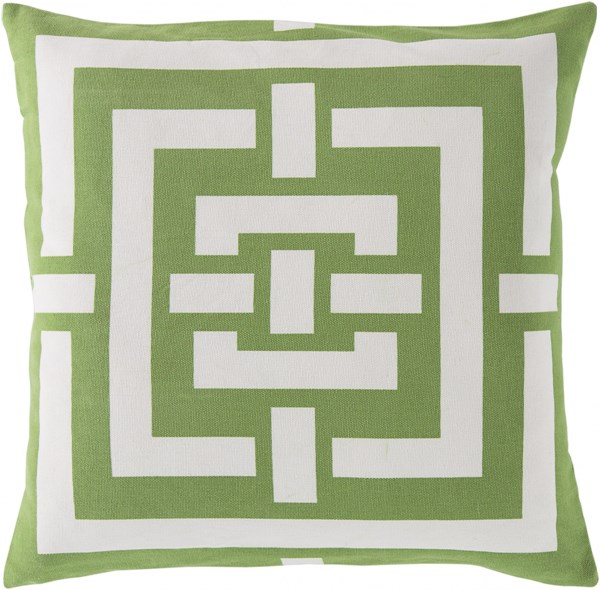 Circles & Squares Forest Ivory Down Cotton Throw Pillow - 20x20x5 FB004-2020D