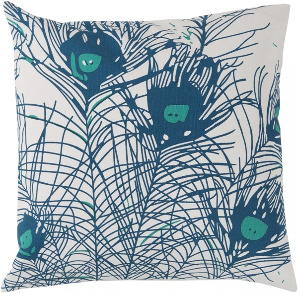Peacock Feathers Contemporary Teal Ivory Teal Cotton Throw Pillows 13220-VAR1