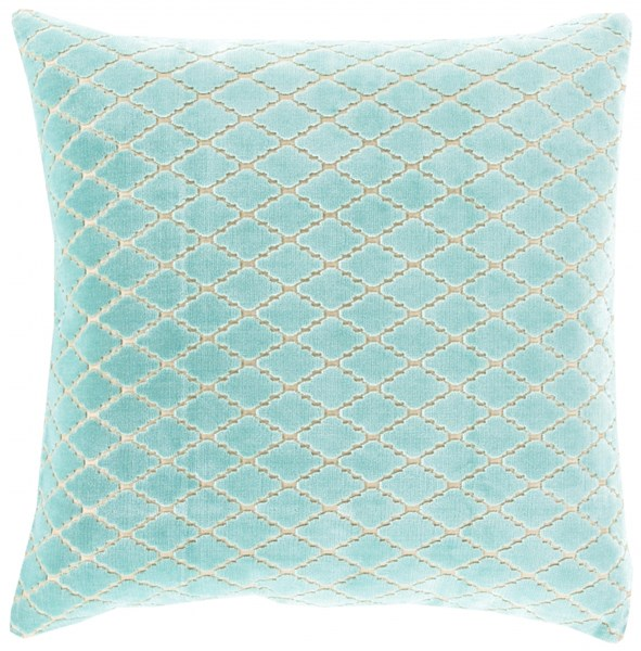 Velvet Antique Lattice Mint Ivory Poly Cotton Throw Pillow - 20x20 FBA001-2020P