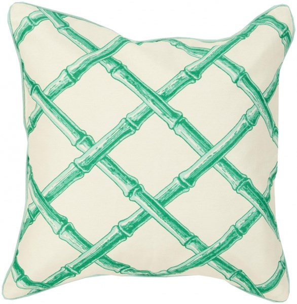 Bamboo Lattice Contemporary Mint Ivory Cotton Throw Pillows 13389-VAR1