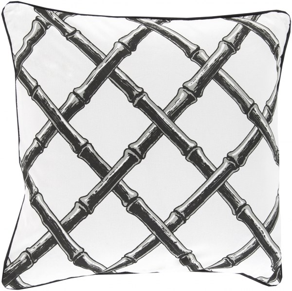 Bamboo Lattice Ivory Charcoal Down Cotton Throw Pillow - 20x20x5 FBB003-2020D