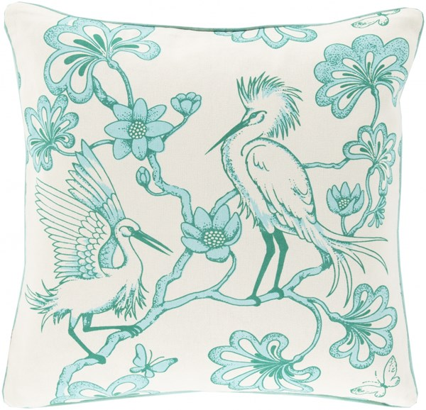 Egrets Mint Ivory Down Cotton Throw Pillow - 20x20x5 FBE001-2020D