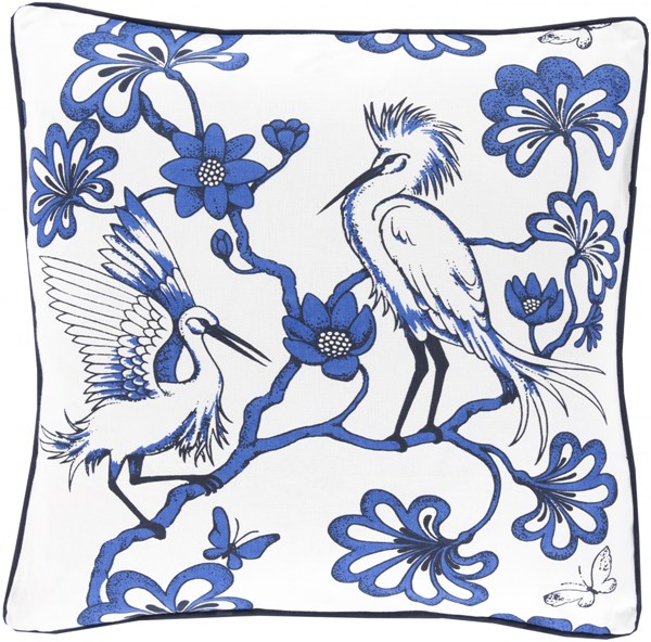 Egrets Cobalt Ivory Poly Cotton Throw Pillow - 20x20x5 FBE002-2020P