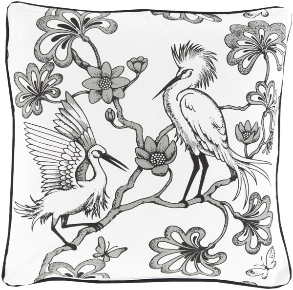 Egrets Charcoal Ivory Down Cotton Throw Pillow - 20x20x5 FBE003-2020D