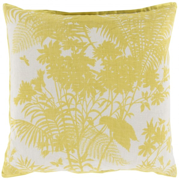 Shadow Floral Lemon Peach Down Linen Cotton Throw Pillow - 20x20x5 FBS003-2020D