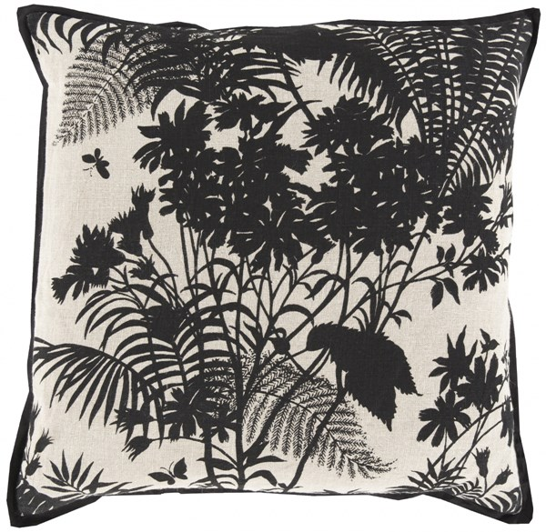 Shadow Floral Charcoal Peach Down Cotton Throw Pillow - 20x20x5 FBS004-2020D