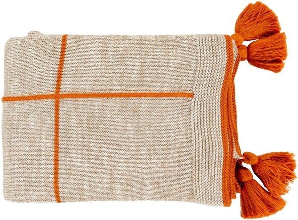 Surya Fleck Burnt Orange Camel Febric Throw FCK1000-5060