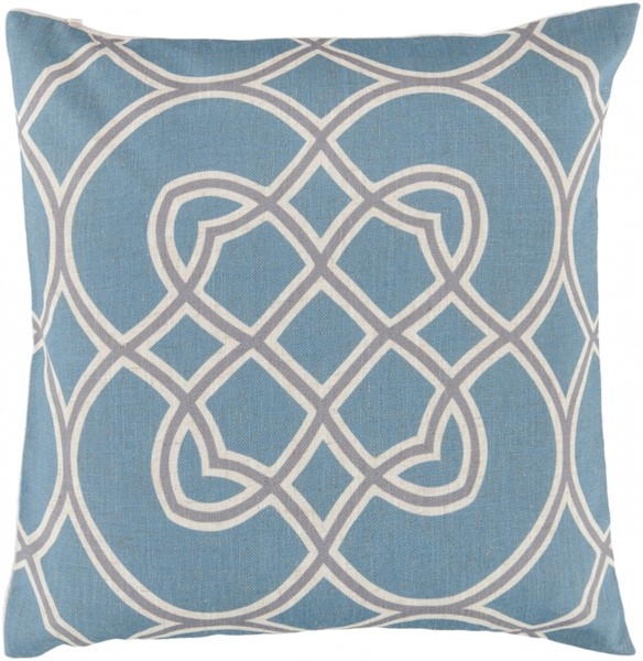 Jorden Teal Gray Beige Down Polyester Throw Pillow - 22x22x5 FF005-2222D