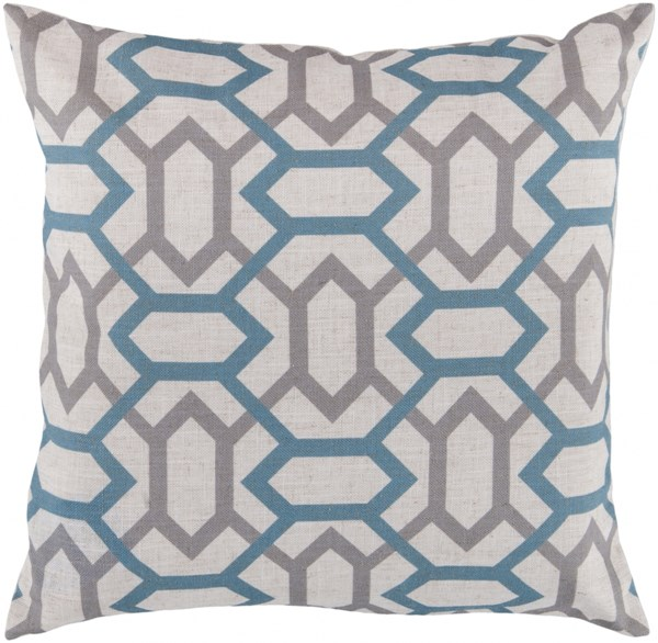Zoe Ivory Teal Light Gray Down Polyester Throw Pillow - 22x22x5 FF008-2222D