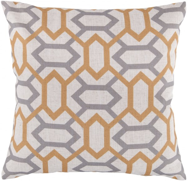 Zoe Ivory Gold Gray Poly Polyester Throw Pillow - 18x18x4 FF009-1818P