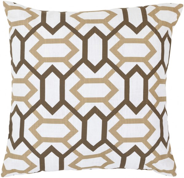 Zoe Ivory Chocolate Tan Down Polyester Throw Pillow - 18x18x4 FF014-1818D