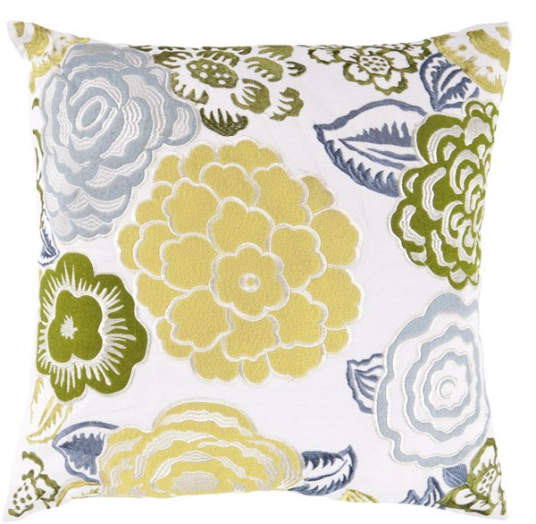 Botanical Lime Slate Ivory Down Polyester Throw Pillow - 18x18x4 FF027-1818D