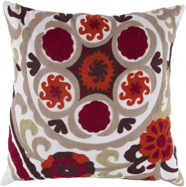 Botanical Burgundy Ivory Lime Down Polyester Throw Pillow - 18x18x4 FF028-1818D