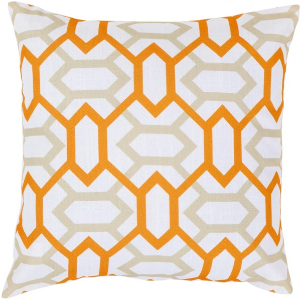 Zoe Ivory Beige Tangerine Poly Polyester Throw Pillow - 22x22x5 FF047-2222P