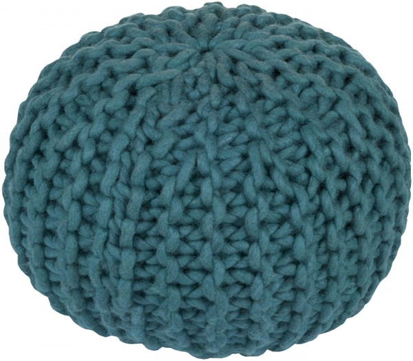 Fargo Contemporary Teal Wool Fabric Pouf FGPF-005