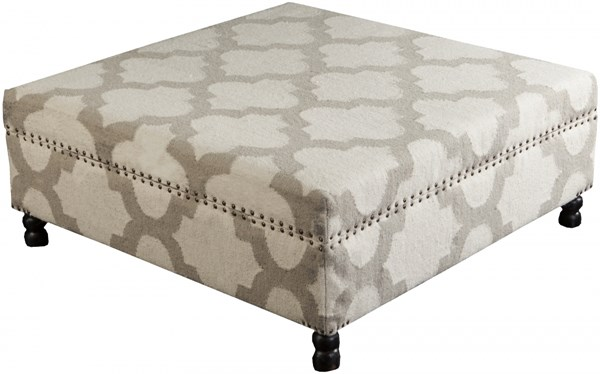 Surya Furniture Ivory Light Gray Wood Wool Ottoman - 40 x 40 x 16 FL1009-404016