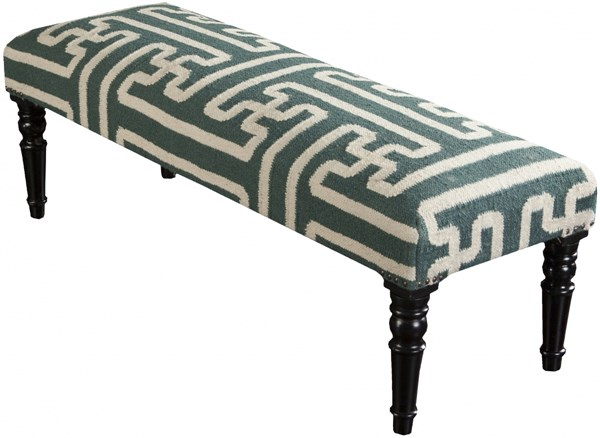 Surya Furniture Teal Ivory Wood Wool Bench - 16 X 46 X 18 FL1012-461618
