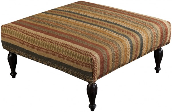 Surya Furniture Orange Olive Gold Wood Wool Ottoman - 32 X 32 X 18 FL1016-808045