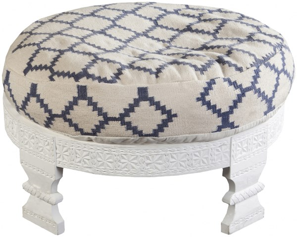 Surya Furniture Ivory Navy Wood Cotton Ottoman - 30.4 X 30.4 X 11.2 FL1026-767628