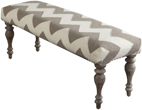 Surya Furniture Contemporary Ivory Taupe Wood Fabric Benches 14127-VAR1