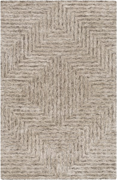 Falcon Light Gray Taupe Charcoal Viscose Wool Area Rug (L 90 X W 60) FLC8000-576