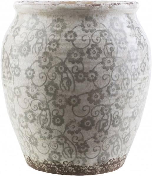 Flora Contemporary Gray Ivory Ceramic Table Vases 14178-VAR1