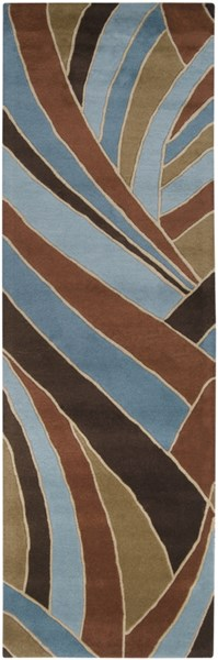 Forum Modern Chocolate Teal Beige Wool Runner (L 96 X W 30) FM7002-268