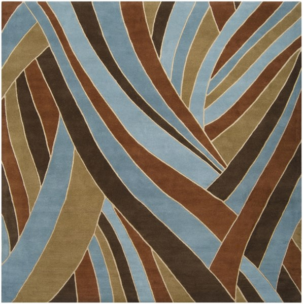 Forum Modern Chocolate Teal Beige Wool Square Area Rug (L 96 X W 96) FM7002-8SQ