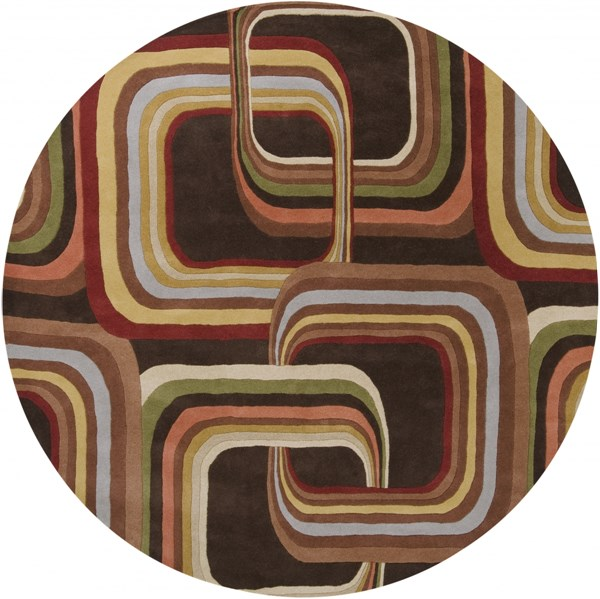 Forum Modern Chocolate Rust Gold Wool Round Area Rug (L 96 X W 96) FM7007-8RD