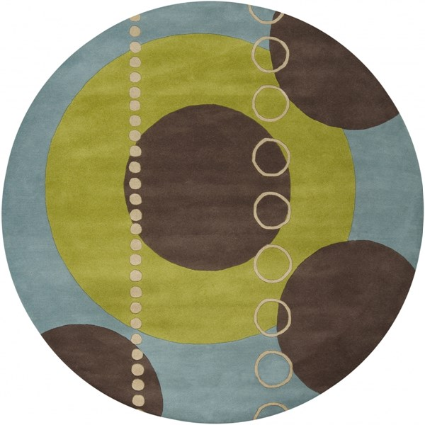 Forum Modern Lime Slate Taupe Wool Round Area Rug (L 96 X W 96) FM7013-8RD