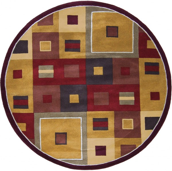 Forum Modern Mocha Chocolate Burgundy Fabric Area Rug (L 72 X W 72) FM7014-6RD