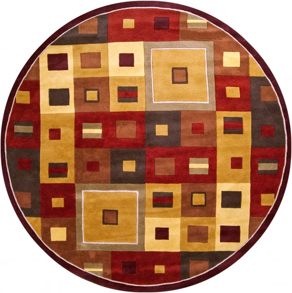 Forum Mocha Chocolate Burgundy Wool Round Area Rug (L 96 X W 96) FM7014-8RD