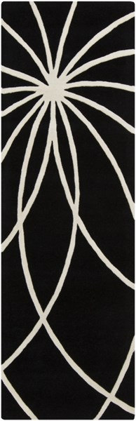 Forum Modern Black Ivory Fabric Runner (L 96 X W 30) FM7072-268