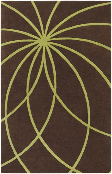 Forum Modern Chocolate Lime Wool Area Rug (L 96 X W 60) FM7073-58