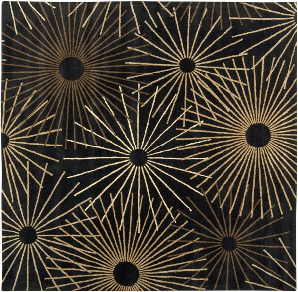 Forum Modern Black Chocolate Beige Wool Area Rug (L 96 X W 96) FM7090-8SQ