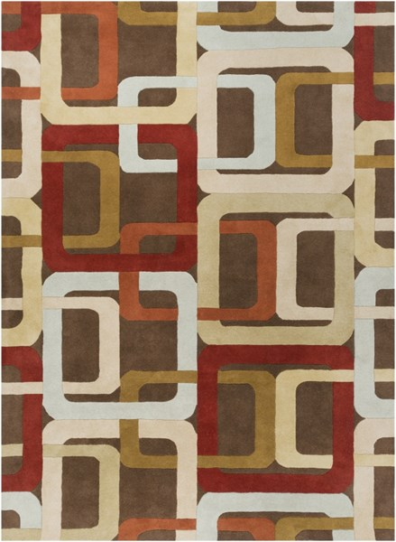 Forum Modern Burgundy Rust Light Gray Wool Area Rug (L 132 X W 96) FM7106-811