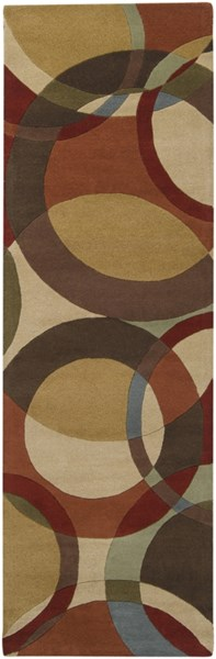 Forum Modern Beige Chocolate Rust Wool Runner (L 96 X W 30) FM7108-268