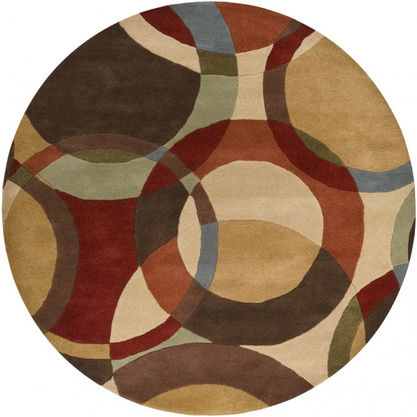 Forum Modern Beige Chocolate Rust Wool Area Rug (L 72 X W 72) FM7108-6RD