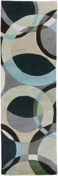 Forum Modern Light Gray Black Teal Wool Runner (L 96 X W 30) FM7157-268