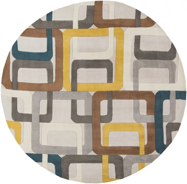 Forum Modern Teal Light Gray Ivory Wool Round Area Rug (L 96 X W 96) FM7159-8RD