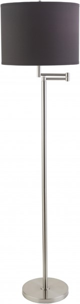 Finn Brushed Nickel Black Iron Cotton Floor Lamp (W 15 X H 60) FNLP-002
