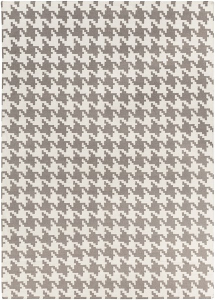 Frontier Contemporary Ivory Taupe Wool Area Rug (L 132 X W 96) FT106-811