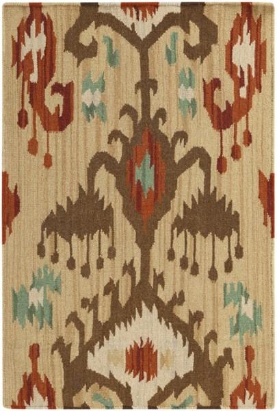 Frontier Beige Chocolate Light Gray Fabric Area Rug (L 36 X W 24) FT113-23