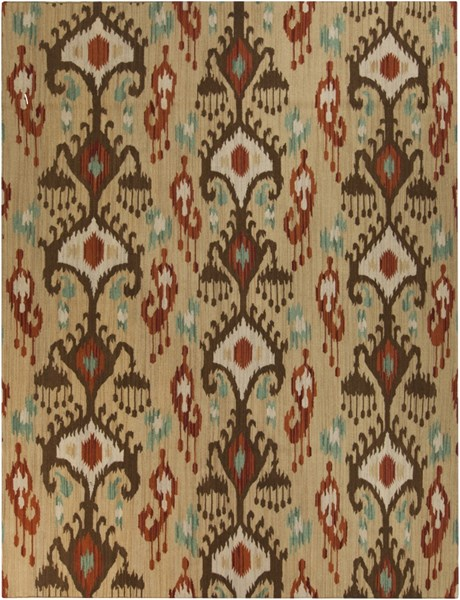 Frontier Beige Chocolate Light Gray Fabric Area Rug (L 132 X W 96) FT113-811
