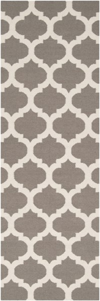 Frontier Contemporary Gray Beige Fabric Geometric Runner (L 96 X W 30) FT122-268
